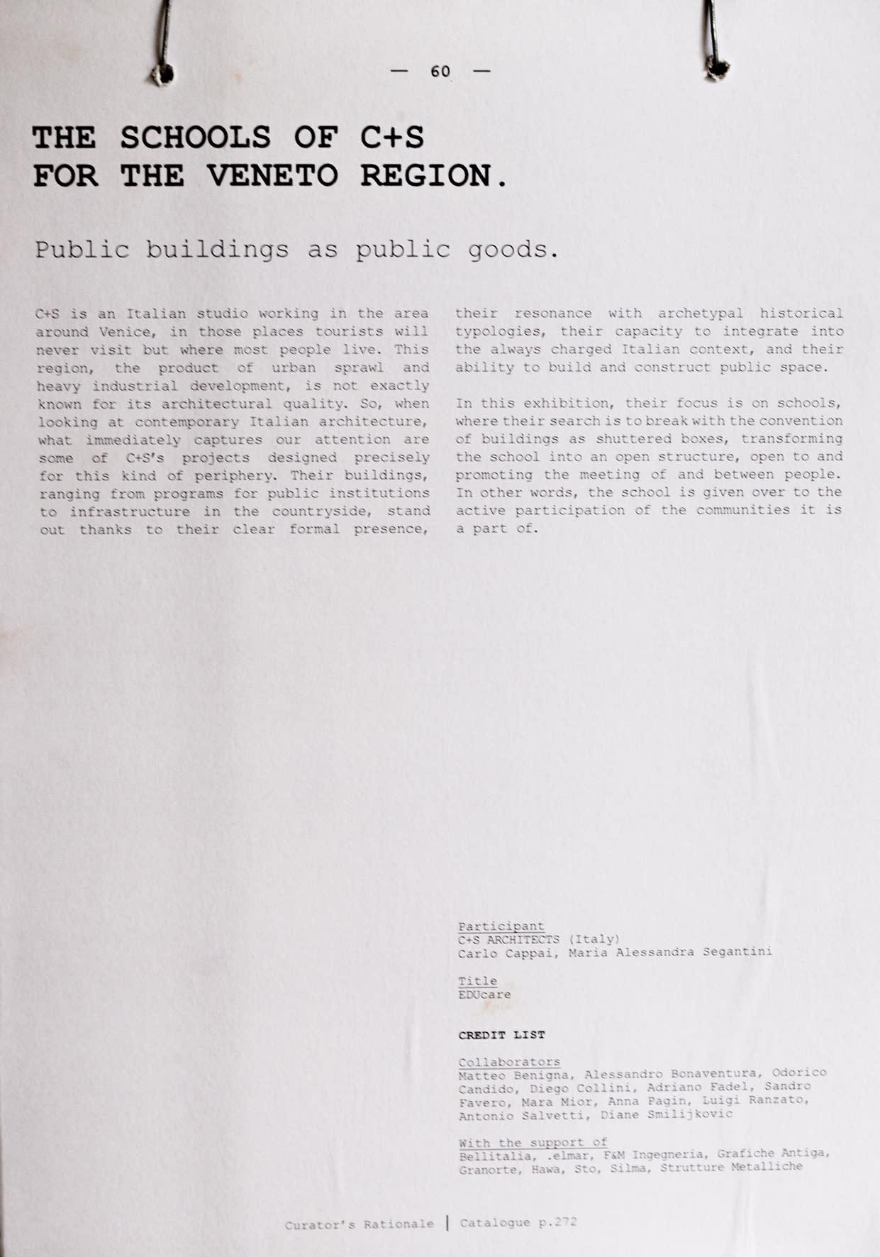 C+S Architects · 15 Biennale di Venezia  Aequilibrium · Divisare